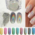 PhantomSky Nagel Glitzer Glänzend Spiegel Chrom Nagelpuder Maniküre Pigment – Regenbogen Silber(1g geladen)